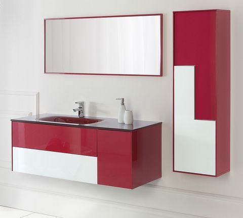 Mobile da Bagno Bcolour cm 120 con lavabo in vetro decentrato con ...