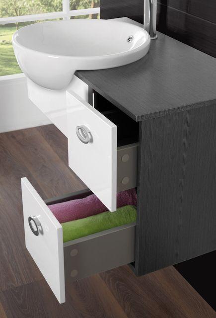 Mobile bagno fiordaliso cm 80 sospeso bianco grigio marrone con lavabo semincasso e specchio br - Mobile bagno sospeso 80 cm ...