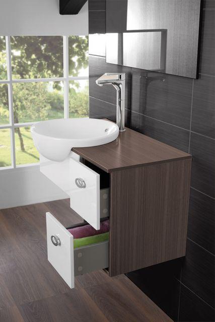 Mobile bagno Fiordaliso cm 80 sospeso bianco grigio marrone con lavabo semincasso e specchio br