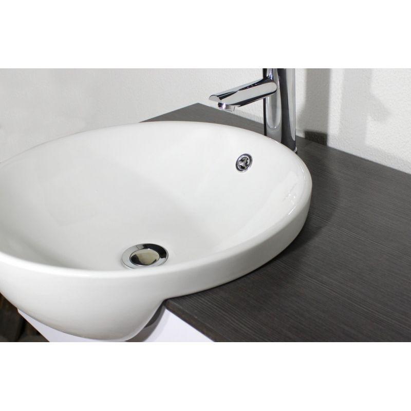 Mobile bagno fiordaliso cm 80 sospeso bianco grigio marrone con lavabo semincasso e specchio br - Lavandino bagno sospeso ...