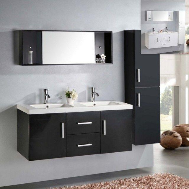 Mobile bagno Taiti 120 cm bianco o nero doppio lavabo in ceramica ...