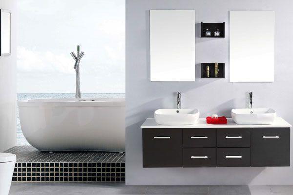 Mobile bagno victor 150 cm nero doppio lavabo da appoggio ceramica con miscelatori inclusi - Mobile bagno per lavabo da appoggio ...