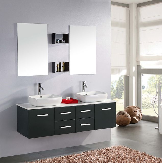 Mobile bagno victor 150 cm nero doppio lavabo da appoggio ceramica con miscelatori inclusi - Mobile bagno con doppio lavabo ...