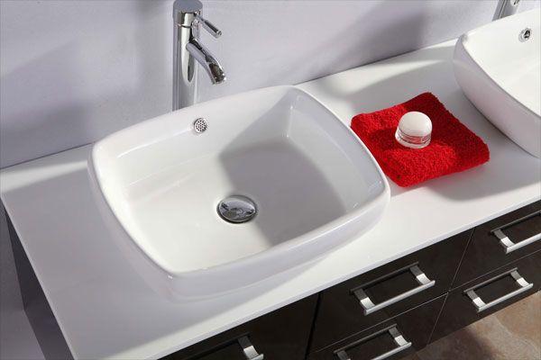 Mobile bagno victor 150 cm nero doppio lavabo da appoggio - Prezzo lavandino bagno ...