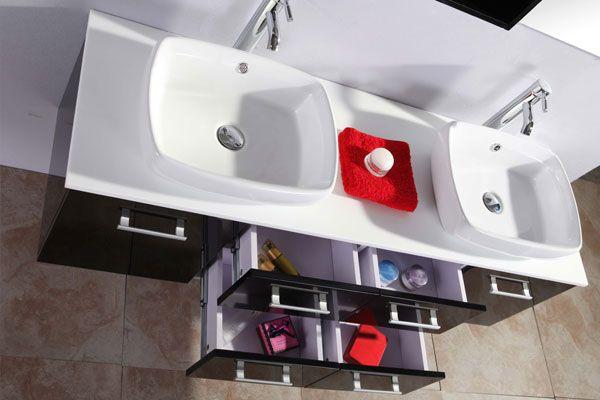 Mobile bagno victor 150 cm nero doppio lavabo da appoggio - Mobile bagno lavabo appoggio ...