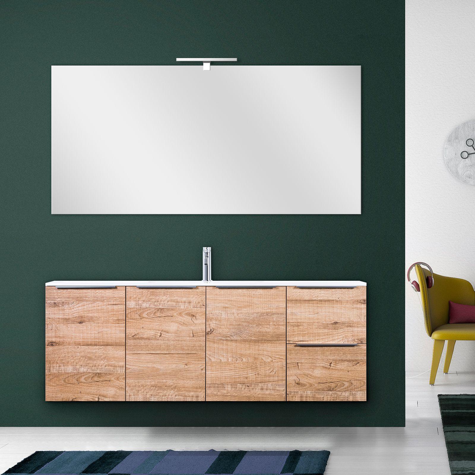 Mobile bagno moderno wood 140 cm sospeso in legno lavabo - Specchio bagno legno ...