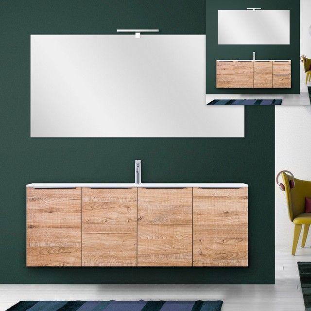 Mobile bagno moderno wood 140 cm sospeso in legno lavabo - Bagno moderno legno ...