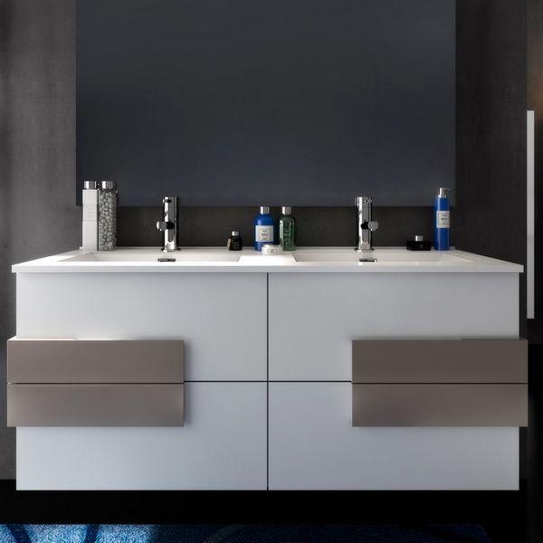 Mobile bagno Energy 120 cm marrone con inserti bianchi doppio lavabo ...