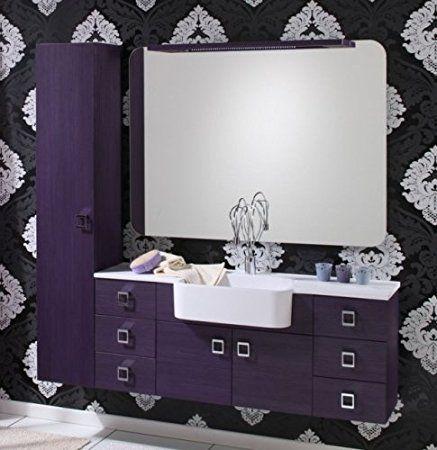 arredo bagno florida 130+30 disp. bianco viola grigio tavolato bh - Arredo Bagno Viola