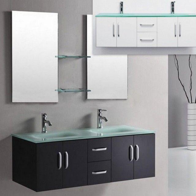 Mobile bagno galaxy da 150 color bianco o nero lucido con doppio lavabo in cristallo verde - Mobile bagno bianco lucido ...