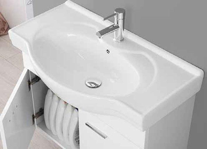 Mobile bagno Icaro cm 85 sospeso rovere chiaro o laccato bianco ...