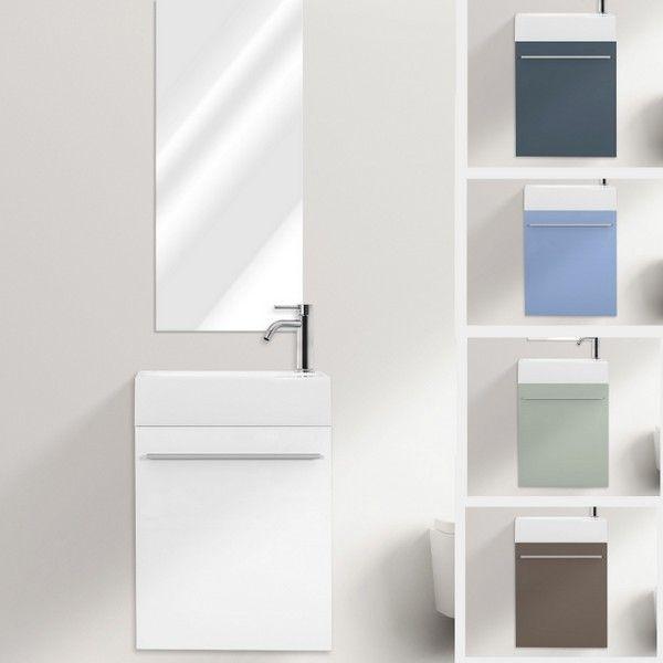 Mobile bagno sospeso karma cm 46 specchiera bianco grigio - Bagno grigio e bianco ...