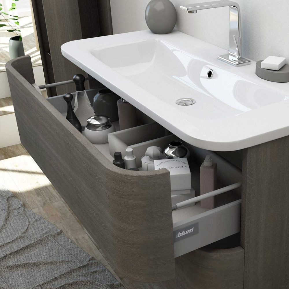 Mobile da bagno moderno angel 80 100cm arredo con lavabo for Mobile lavabo