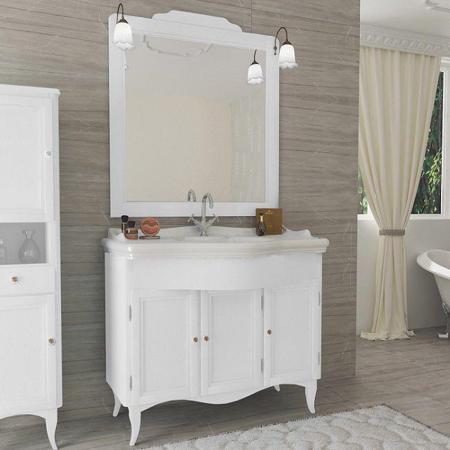 Mobile Style classico decapè 3 ante bianco legno con specchio lavabo ...
