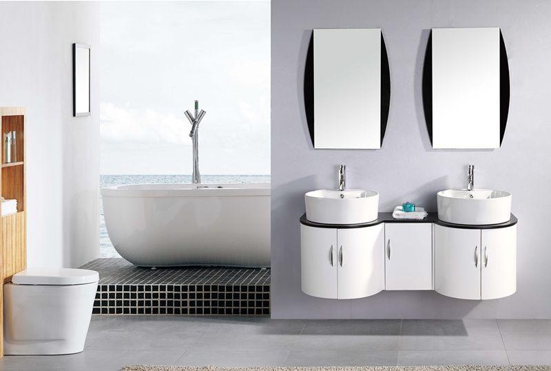 Arredo bagno 138 cm con doppio lavabo da appoggio in ceramica bianco laccato sta ebay - Tiger accessori bagno ...