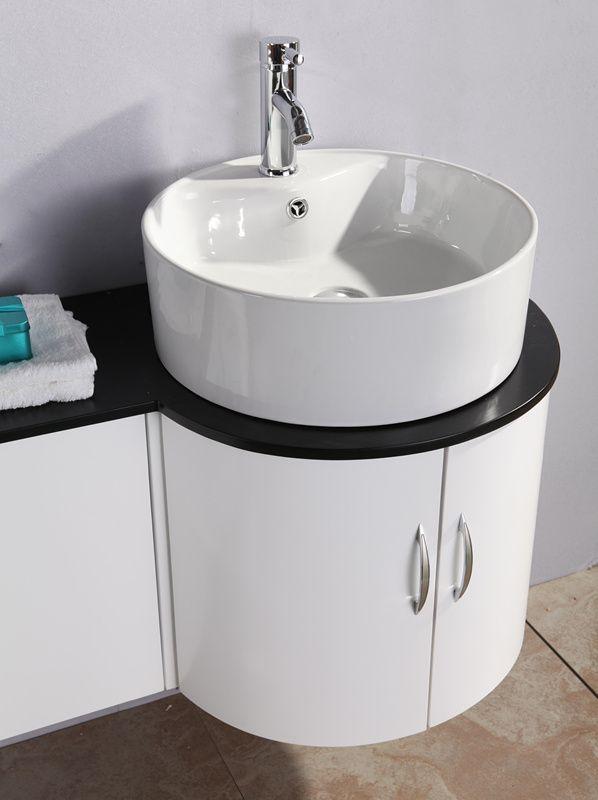 Arredo bagno 138 cm con doppio lavabo da appoggio in ceramica bianco laccato dat ebay - Tiger accessori bagno ...