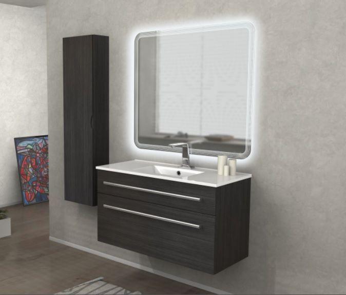 Bagno grigio scuro mobili bagno con doppio lavabo tante - Bagno moderno grigio ...