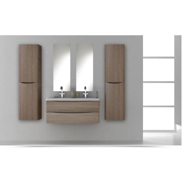 Mobile Bagno cm 120 con doppio lavabo, color rovere effetto legno, con ...