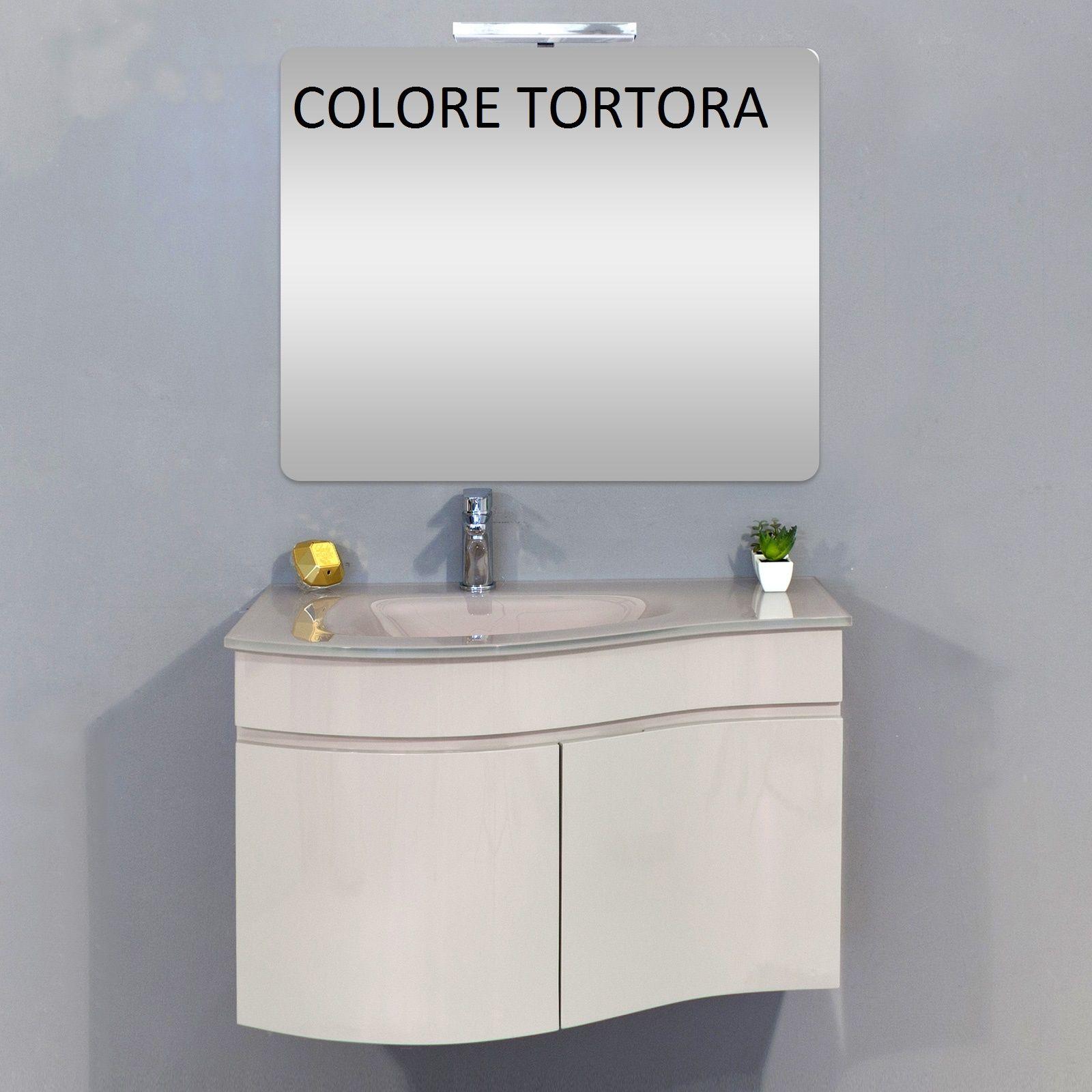 MOBILE ARREDO BAGNO 80 o 100 cm BIANCO O TORTORA LAVABO IN CRISTALLO MODERNO 62  eBay