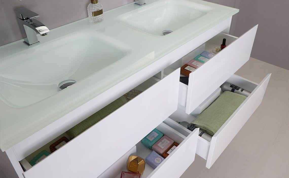 Arredo bagno black mobile moderno doppio lavabo br - Mobili laccati bianchi ...