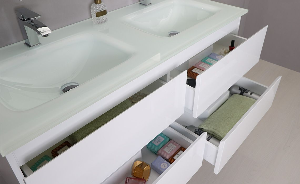 Arredo bagno black mobile moderno doppio lavabo br - Mobili da bagno in offerta ...
