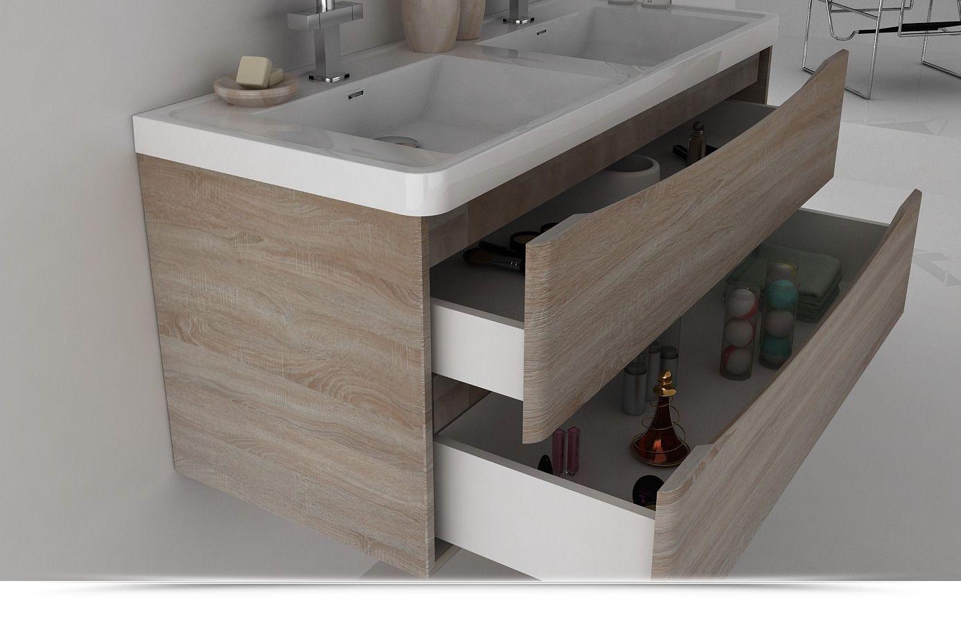 Mobile Bagno cm 120 con doppio lavabo, color rovere ...