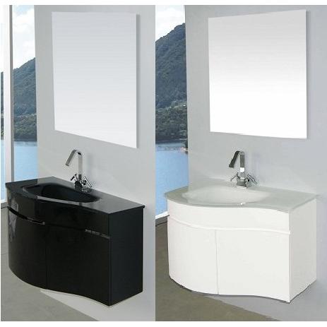 Arredo bagno asia completo di lavabo in cristallo de - Lavabo nero bagno ...
