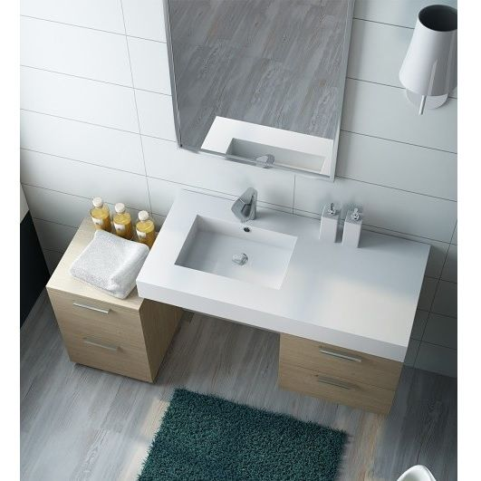 Piano da arredo bagno moderno con lavabo decentrato vi - Lavello bagno appoggio ...