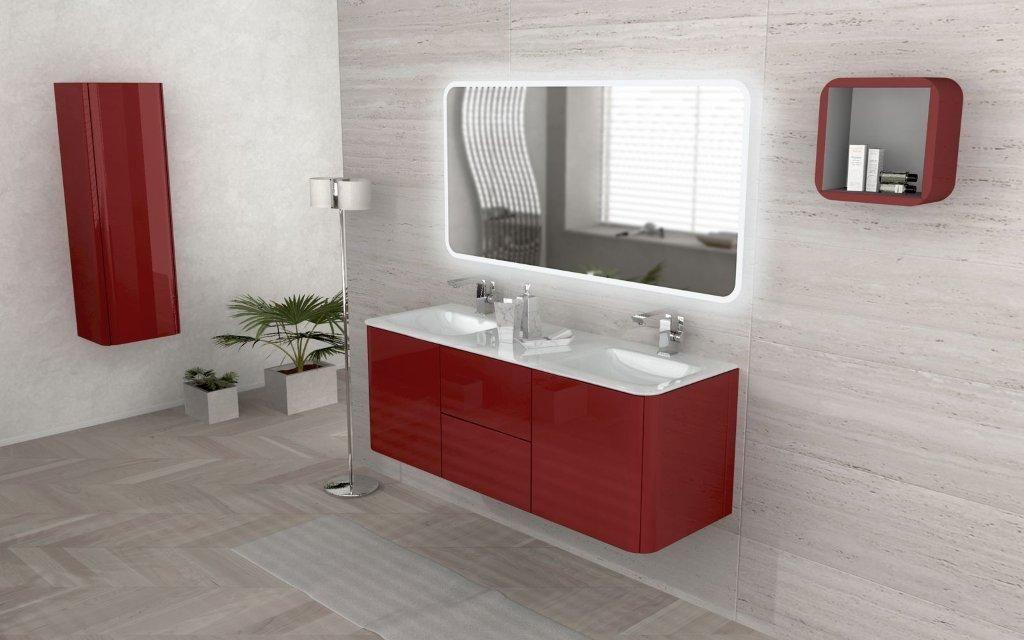 Mobile bagno live 140 doppio lavabo arredo sospeso in pi colori - Mobile bagno rosso ...