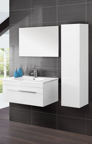 Arredobagno green da 80 o 90 cm in 3 colori sospeso ad uno for Mobile bagno moderno bianco