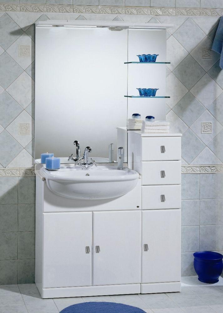 Mobile Bagno Cleo cm 70+30 con lavabo semincasso bianco lucido