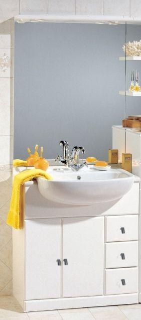 mobile bagno cleo cm 81 con lavabo semincasso bianco lucido