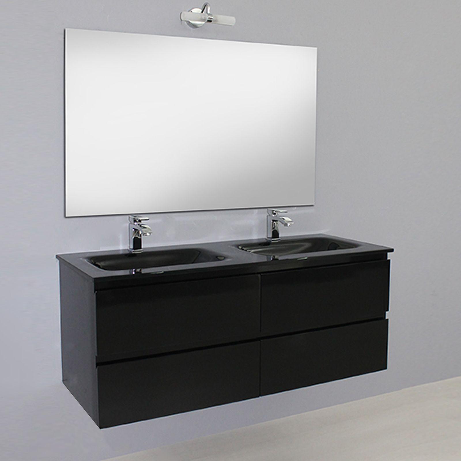 Arredo da bagno mobile bianco doppio lavabo cristallo 120 cm con specchio ebay - Lavabo bagno prezzi ...