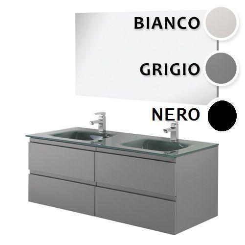 Arredo bagno black mobile moderno doppio lavabo br - Lavabo doppio bagno ...