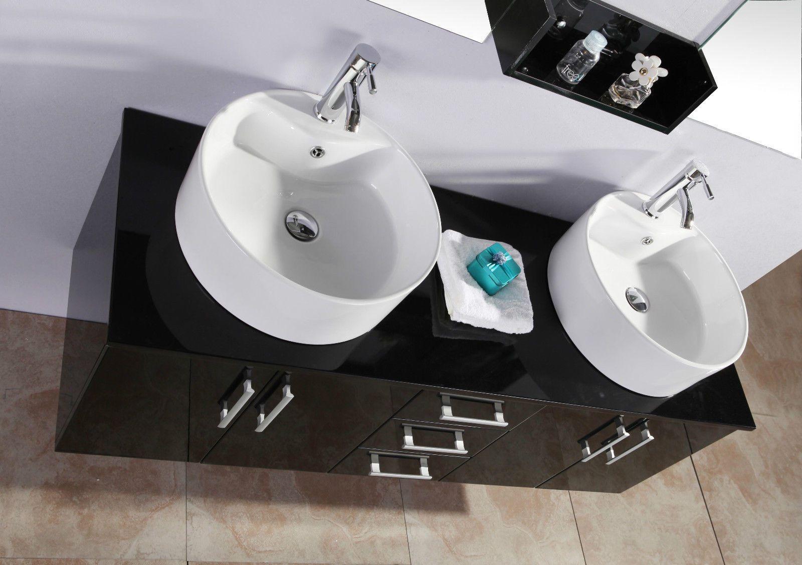 Mobile da bagno diana 150 cm doppio lavabo bianco e cristallo nero - Doppio lavabo da appoggio bagno ...