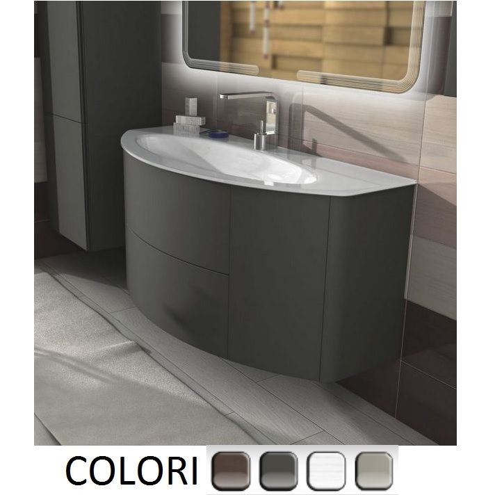 Mobile bagno edelweiss cm 120 grigio natura talpa opaco bianco frassino rovere soft - Lavandini con mobile bagno ...