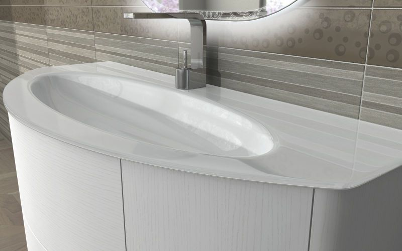 Mobile bagno eden 120arredo moderno sospeso lavabo cristallo ...