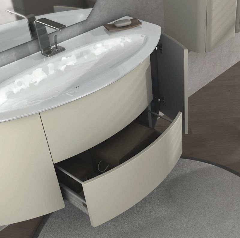 Mobile Bagno Eden cm 120 grigio natura, talpa opaco, bianco frassino ...