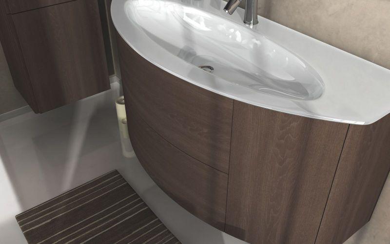 mobil bagno edelweiss cm 90 o 120 lavabo cristallo sospeso con 2 ante e 2 cassetti in 4 colori