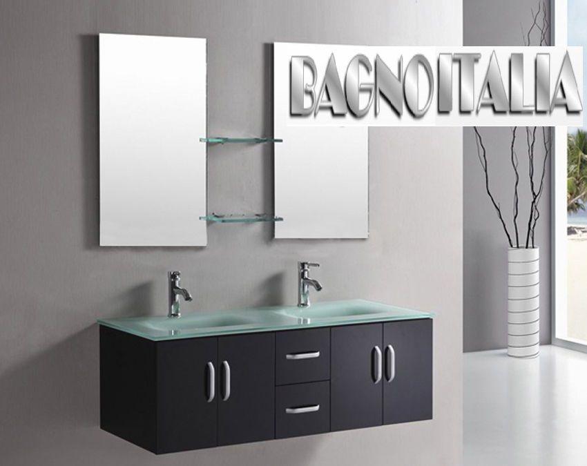 Mobile da arredo per bagno 150 cm nero con lavabo in cristallo doppio specchio ebay - Mobile bagno doppio lavabo offerta ...