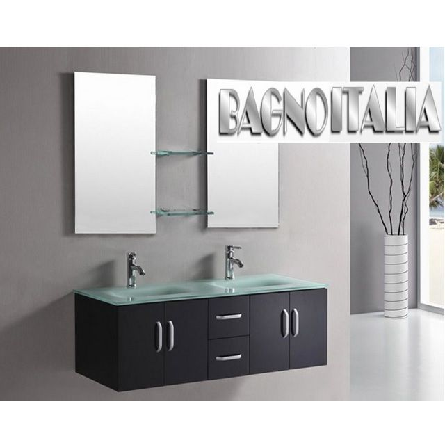 Mobile bagno galaxy da 150 color bianco o nero lucido con doppio lavabo in cristallo verde - Mobile bagno con doppio lavabo ...