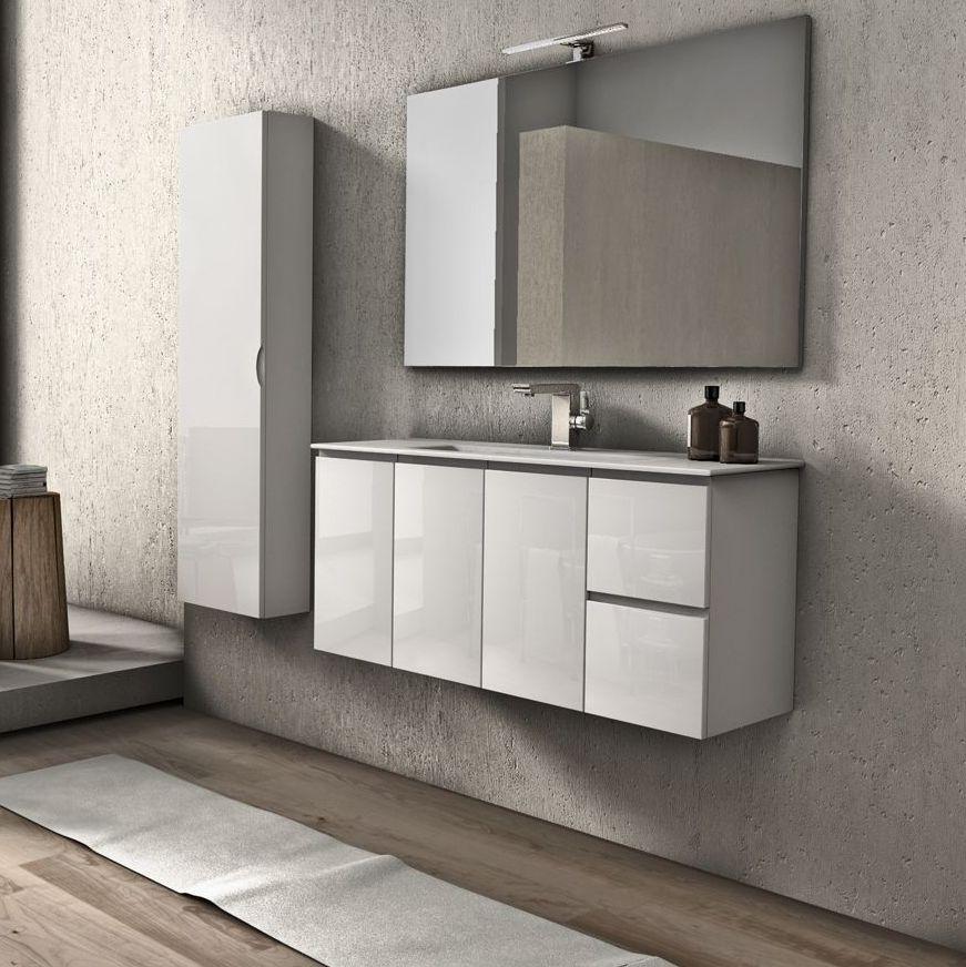 Mobile bagno giulia cm 100 bianco lucido e grigio talpa for Arredo bagno bianco