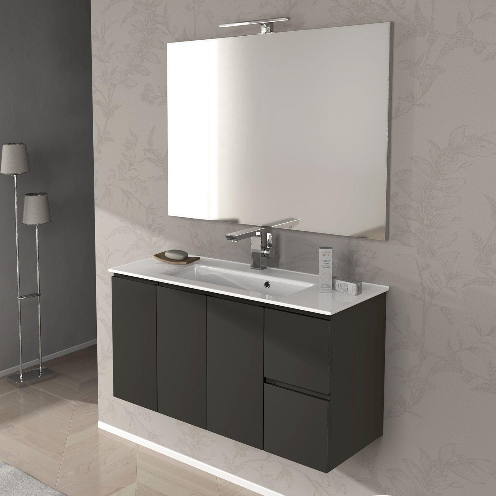 Mobile bagno giulia cm 100 bianco lucido e grigio talpa for Lavabo con mobile