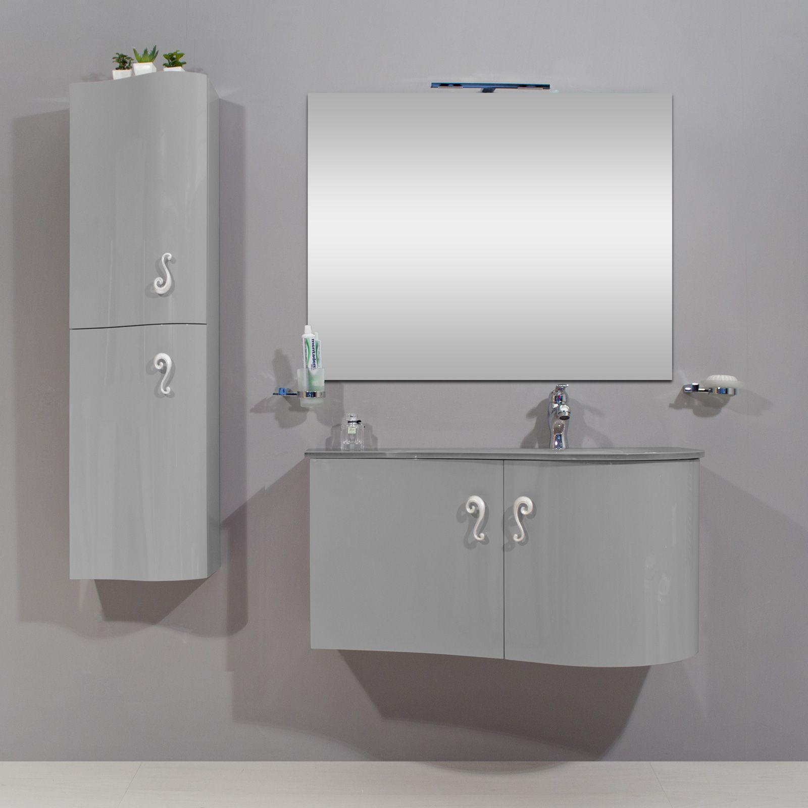 Arredobagno asia 2 cm 90 o 110 con lavabo in cristallo - Mobile basso bagno ...