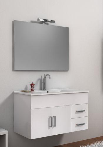 Mobile da bagno moderno isabel con lavabo e specchio bh for Mobile bagno bianco