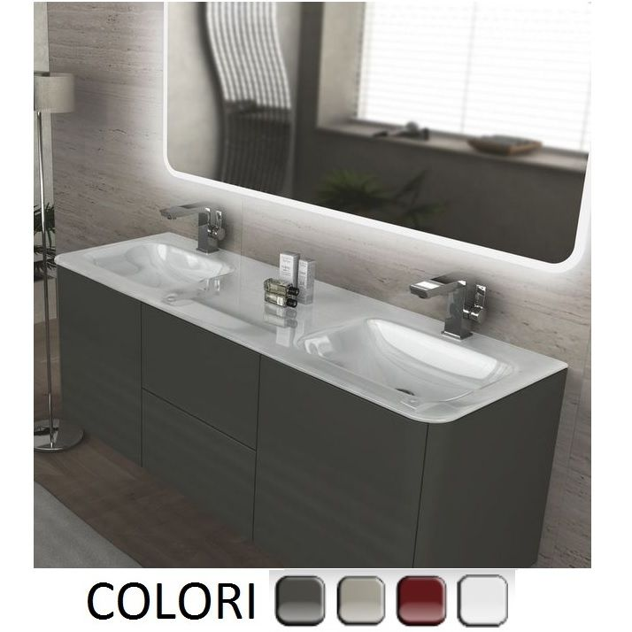 Mobile bagno live 140 doppio lavabo arredo sospeso in pi - Doppio lavello bagno ...