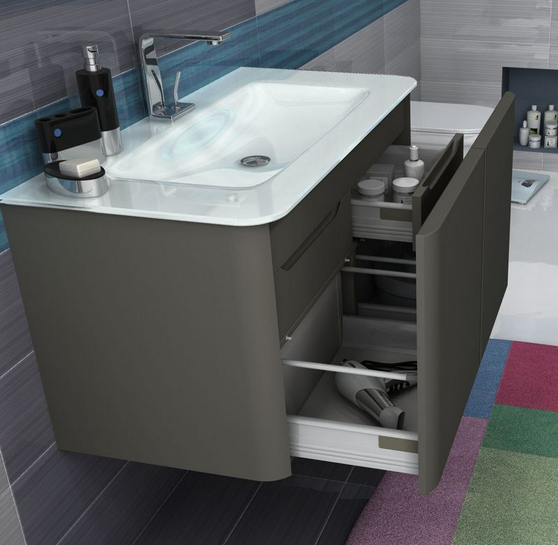mobile bagno live cm 94 lavabo in cristallo bordi arrotondati