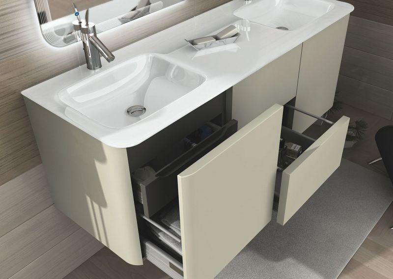 mobile bagno live 140 doppio lavabo arredo sospeso colori grigio talpa e grigio natura rosso e bianco