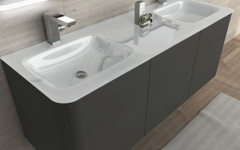 Mobile bagno live 140 doppio lavabo arredo sospeso colori grigio talpa ...