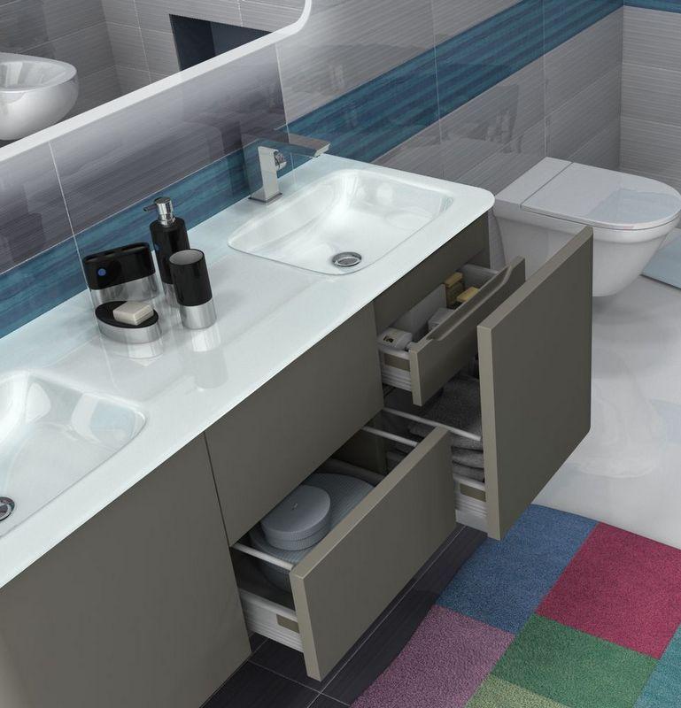 Mobile bagno live 140 doppio lavabo arredo sospeso in pi - Lavandini in vetro per bagno ...
